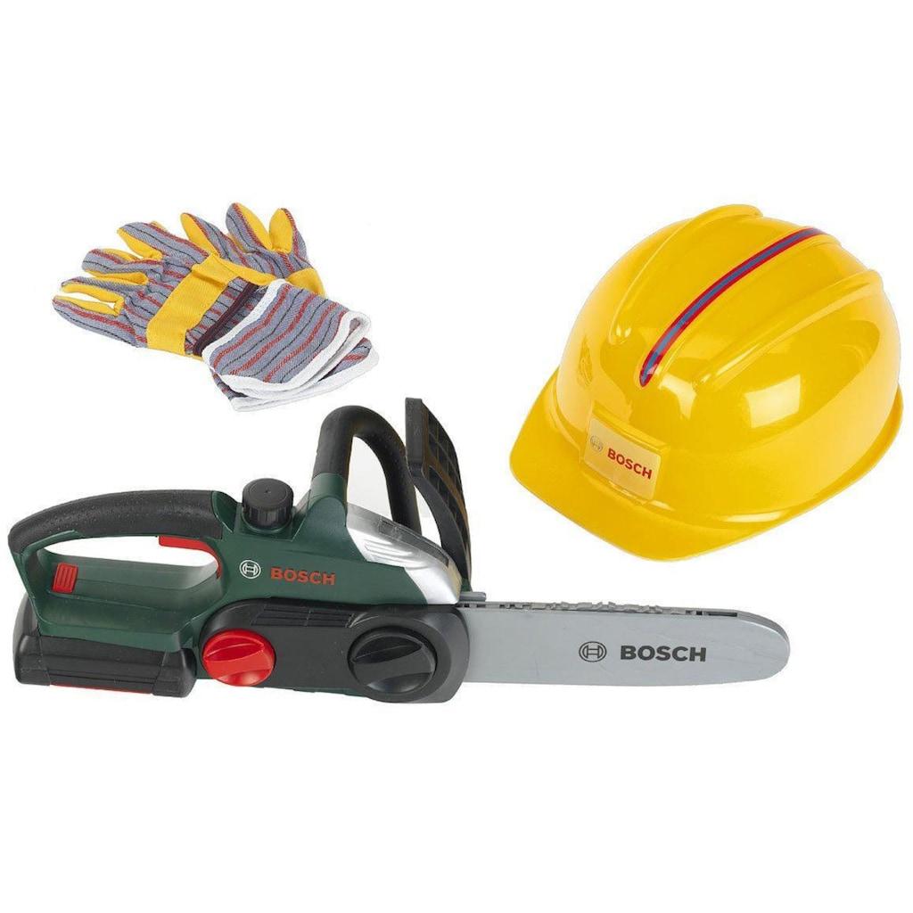 Spielwerkzeug »Bosch Kettensäge mit Helm und Handschuhe«, (Set)