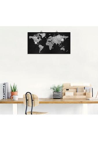 Artland Wandbild »Weltkarte Glitzer«, Land- & Weltkarten, (1 St.), in vielen Grössen &... kaufen