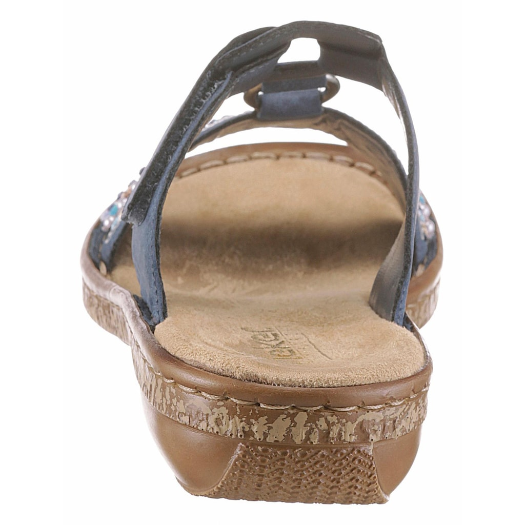Rieker Pantolette, mit Pailetten- und Perlenbesatz
