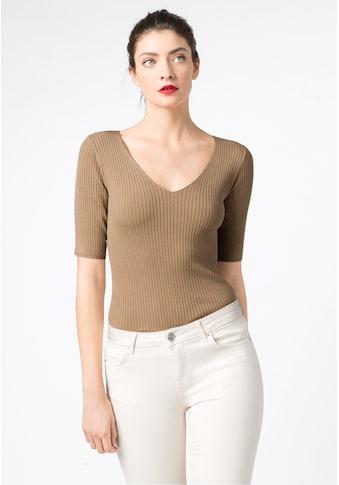 HALLHUBER V - Ausschnitt - Pullover »Rippstrickpullover mit V - Ausschnitt« kaufen