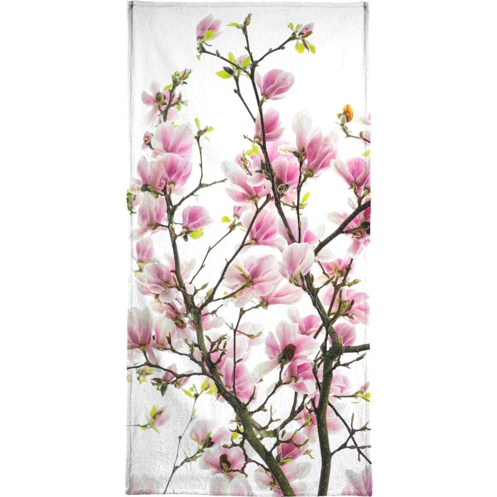 Juniqe Handtuch »Magnolia Pink 2«, (1 St.), Weiche Frottee-Veloursqualität