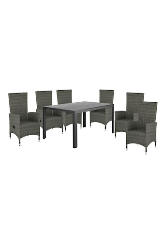 HOMEXPERTS Gartenmöbelset »Malta«, 7 - tlg., 6 Sessel, Tisch 150x90 cm, Alu/Polyrattan kaufen