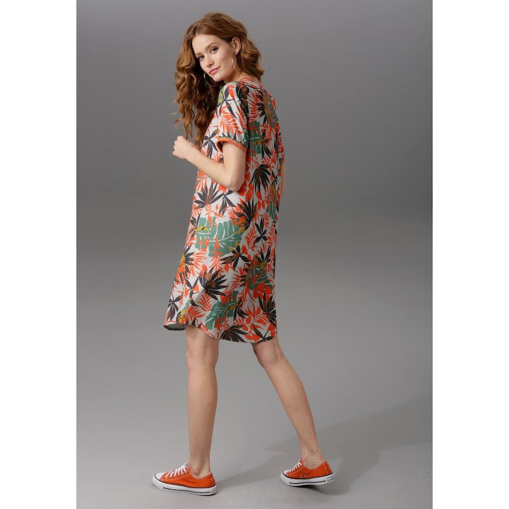 Aniston CASUAL Druckkleid, mit gestreiften Bündchen