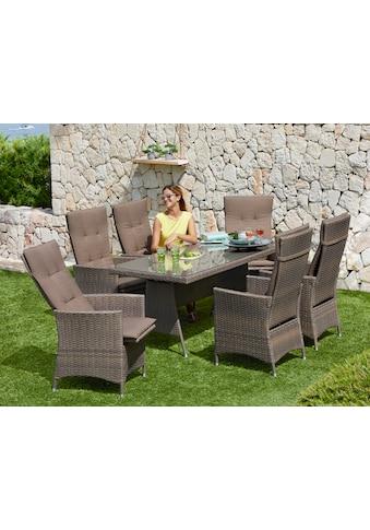 MERXX Gartenmöbelset »Valencia«, 13 - tlg., 6 Relaxsessel, Tisch 150x80 cm, Polyrattan kaufen