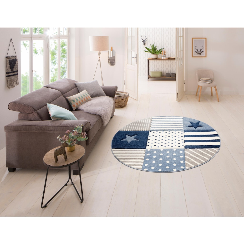 Lüttenhütt Kinderteppich »Stern«, rund, 13 mm Höhe, handgearbeiteter Konturenschnitt, pastellfarben