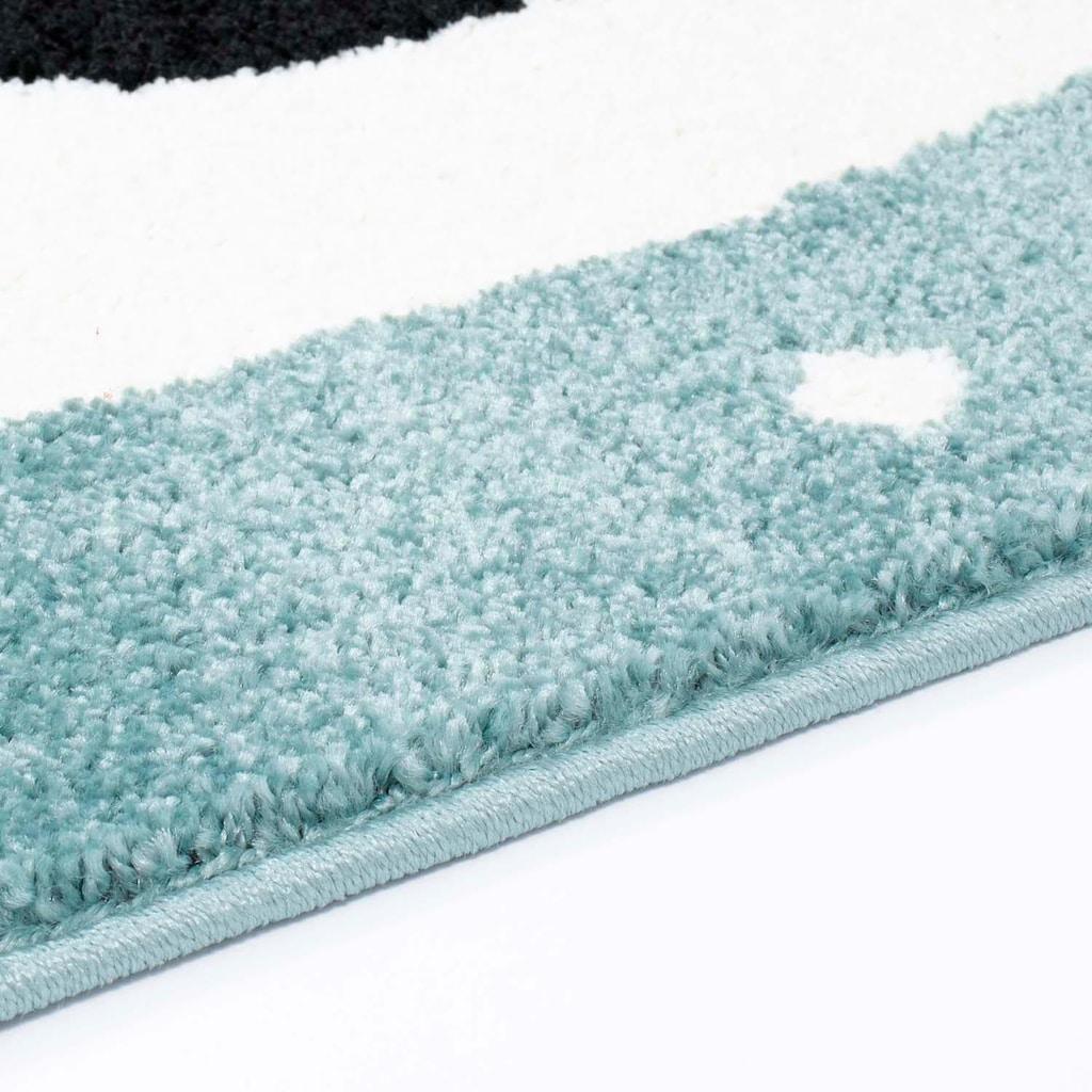 Carpet City Kinderteppich »Bubble Kids 1334«, rechteckig, 11 mm Höhe, Panda Bär in pastell Farben, Kurzflor