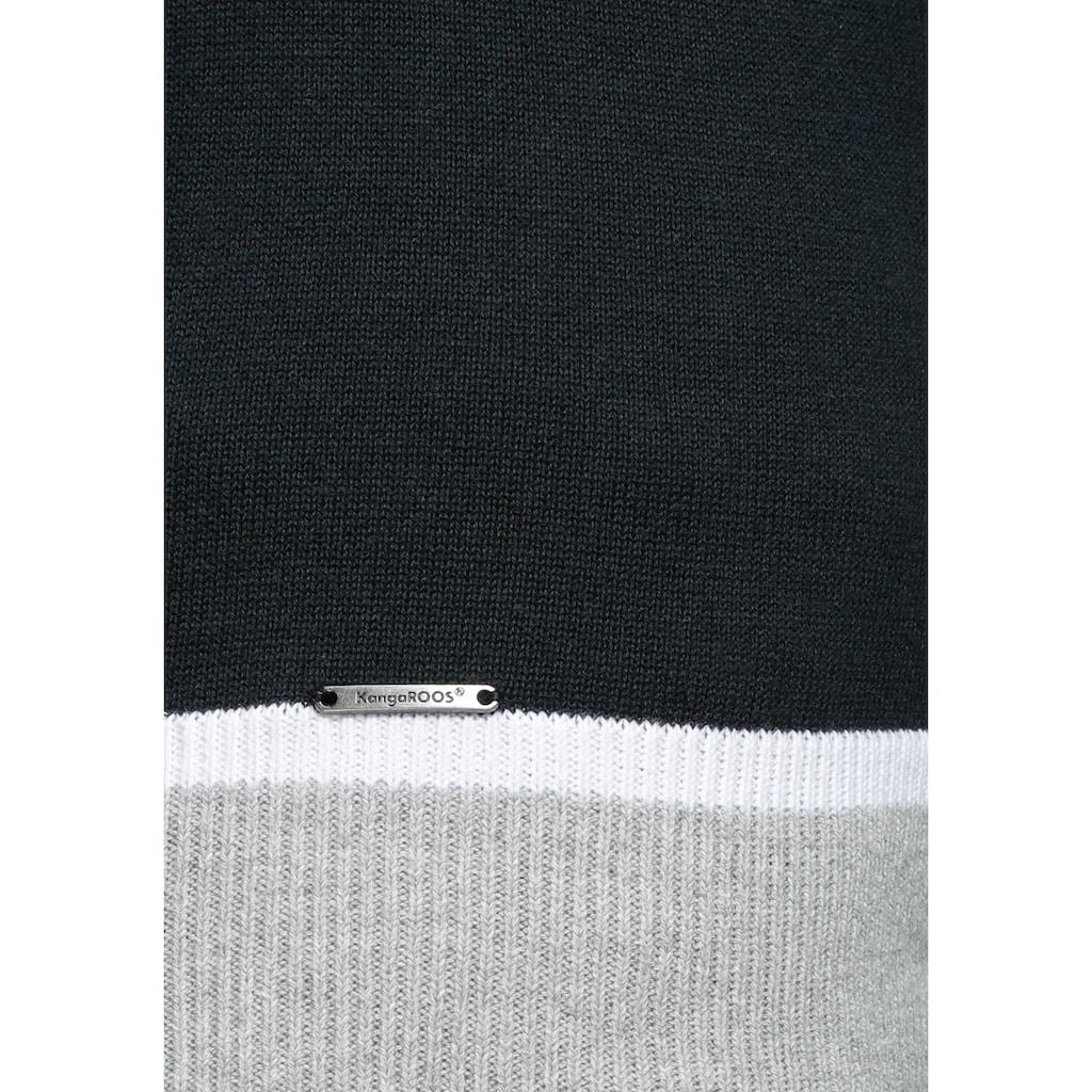 KangaROOS Rundhalspullover, mit kontrastfarbenem Saum