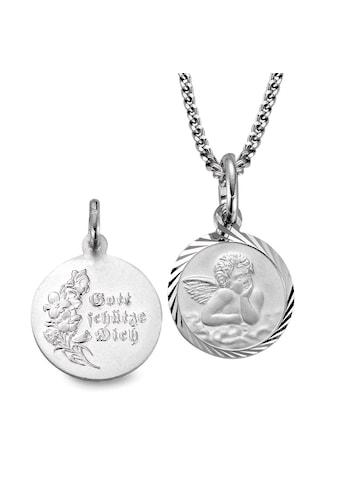 Halskette mit Anhänger Silberfarben rhodiniert Schutzengel 38 cm Ø14 mm kaufen