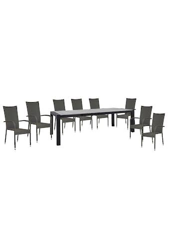 HOMEXPERTS Gartenmöbelset »Zypern«, 9 - tlg., 8 Stühle, Tisch 160/210x95 cm, Alu/Polyrattan kaufen