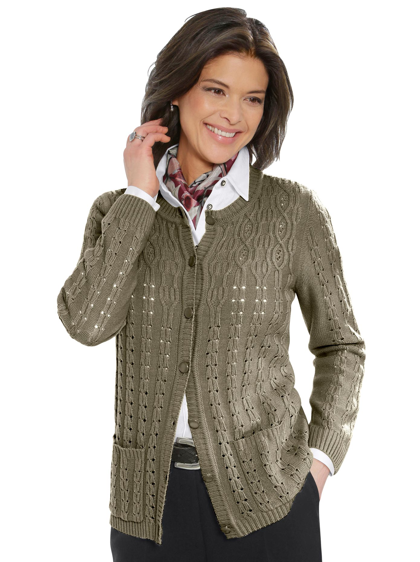 Image of Classic Strickjacke mit Ajourmuster