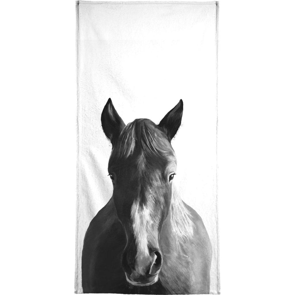 Juniqe Handtuch »Horse«, (1 St.), Weiche Frottee-Veloursqualität