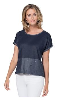 ad00d2ffbf909d weiss-marine-gestreift. Ambria Shirt mit silberfarbigen Zierperlen vorne  kaufen