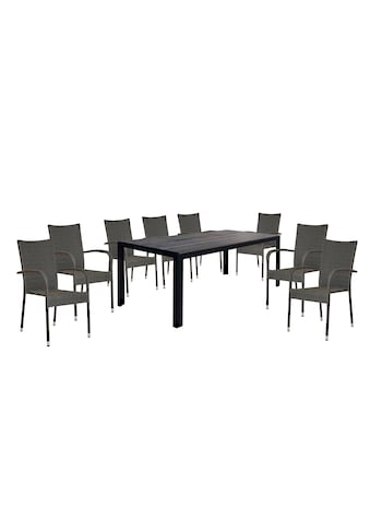 HOMEXPERTS Gartenmöbelset »Malta«, 9 - tlg., 8 Stühle, Tisch 205x90 cm, Alu/Polyrattan kaufen