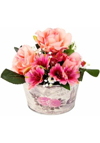 Kunstpflanze »Gesteck Rosen in Zinktopf« (1 Stück) kaufen