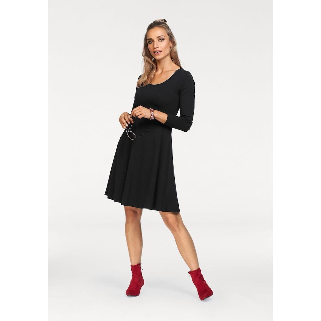 Aniston CASUAL Jerseykleid, mit Blumendruck oder in uni Schwarz