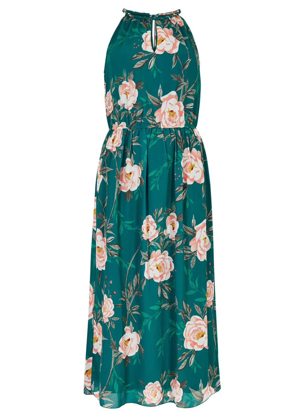 Image of Apricot Chiffonkleid »Peony Print Rope Neck Midi Dress«