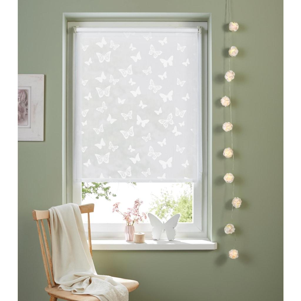 my home Seitenzugrollo »Schmetterling«, Lichtschutz, ohne Bohren, freihängend, Pigmentdruck