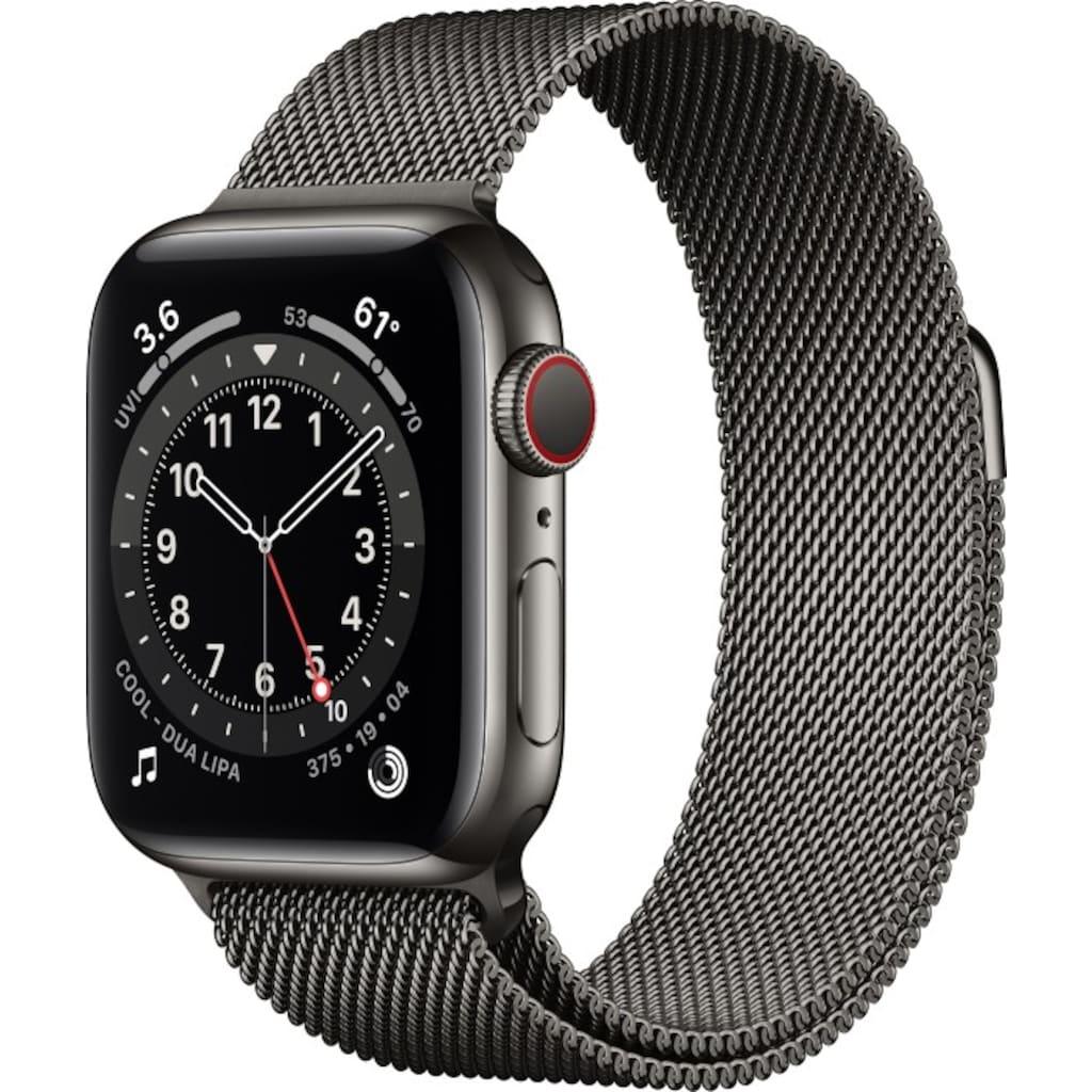 Apple Smartwatch »Apple Watch Series 6 GPS + Cellular, Edelstahlgehäuse, 40 mm mit Milanaise Armband«,