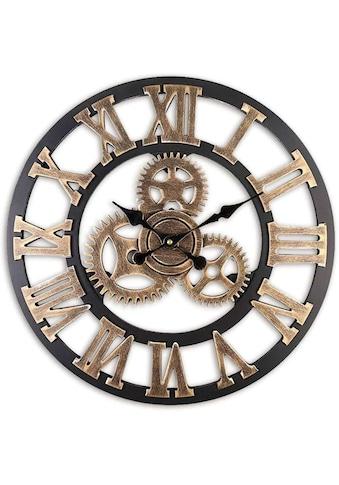 Wall-Art Wanduhr »MDF Holz Wanduhr Zahnrad Design Schwarz Gold Ø 40cm grosse Uhr mit... kaufen