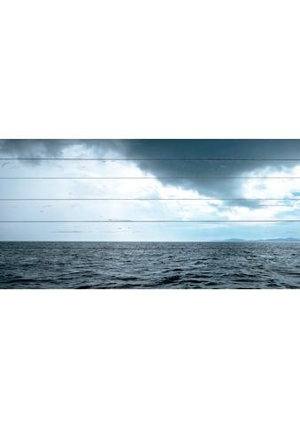 QUEENCE Holzbild »Wellen und Wolken«, 40x80 cm Echtholz kaufen