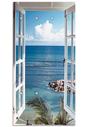 Artland Garderobe »Fenster zum Paradies«, platzsparende Wandgarderobe aus Holz mit 6... kaufen