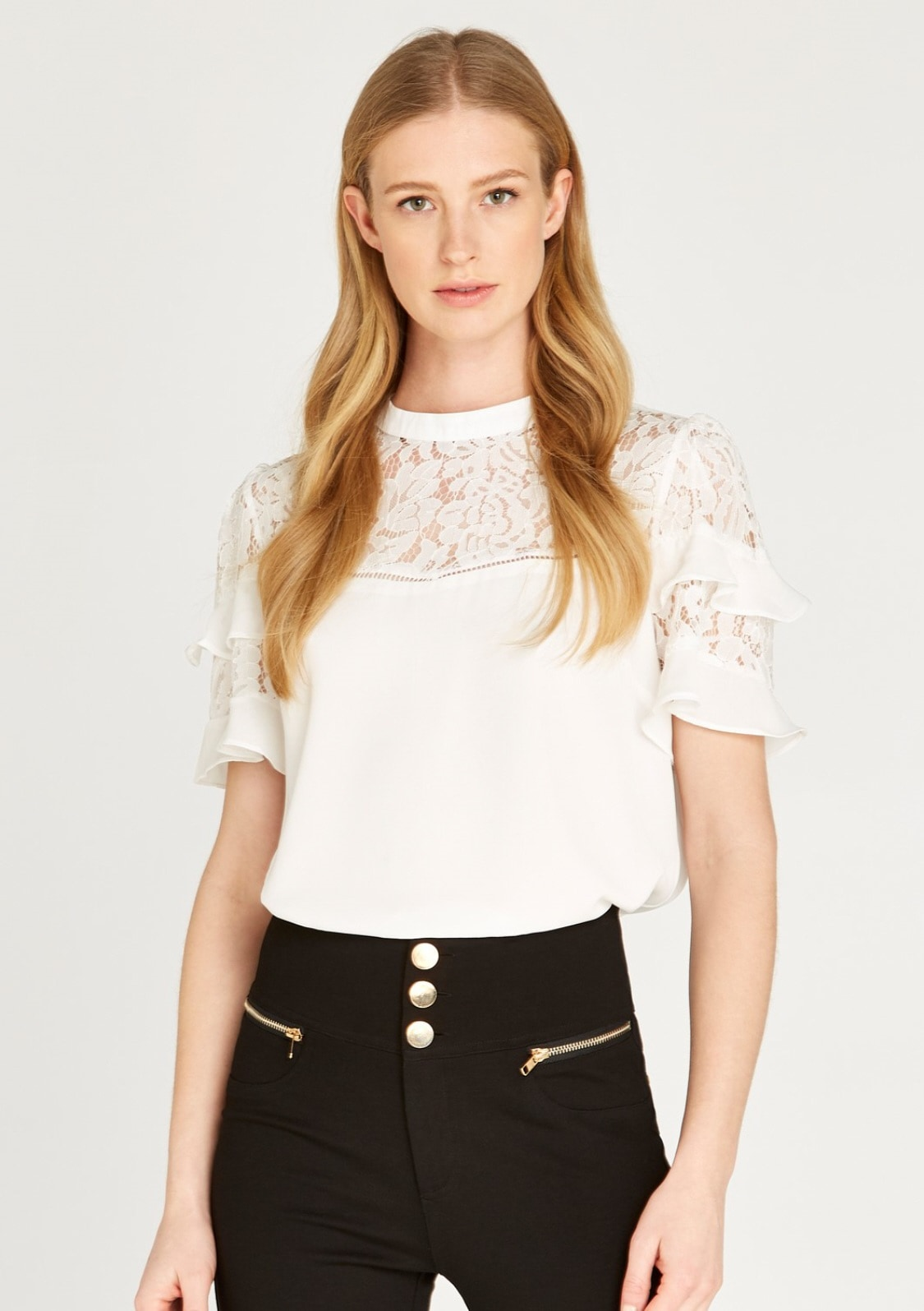 Image of Apricot Blusentop »Lace Neckline Ruffle Sleeve Top«