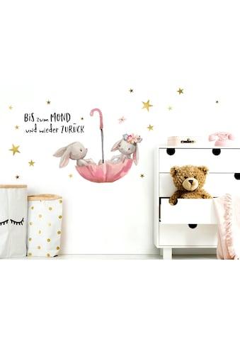 little DECO Wandtattoo »Little Deco Wandtattoo Bis zum Mond & Hasen im Regenschirm« kaufen