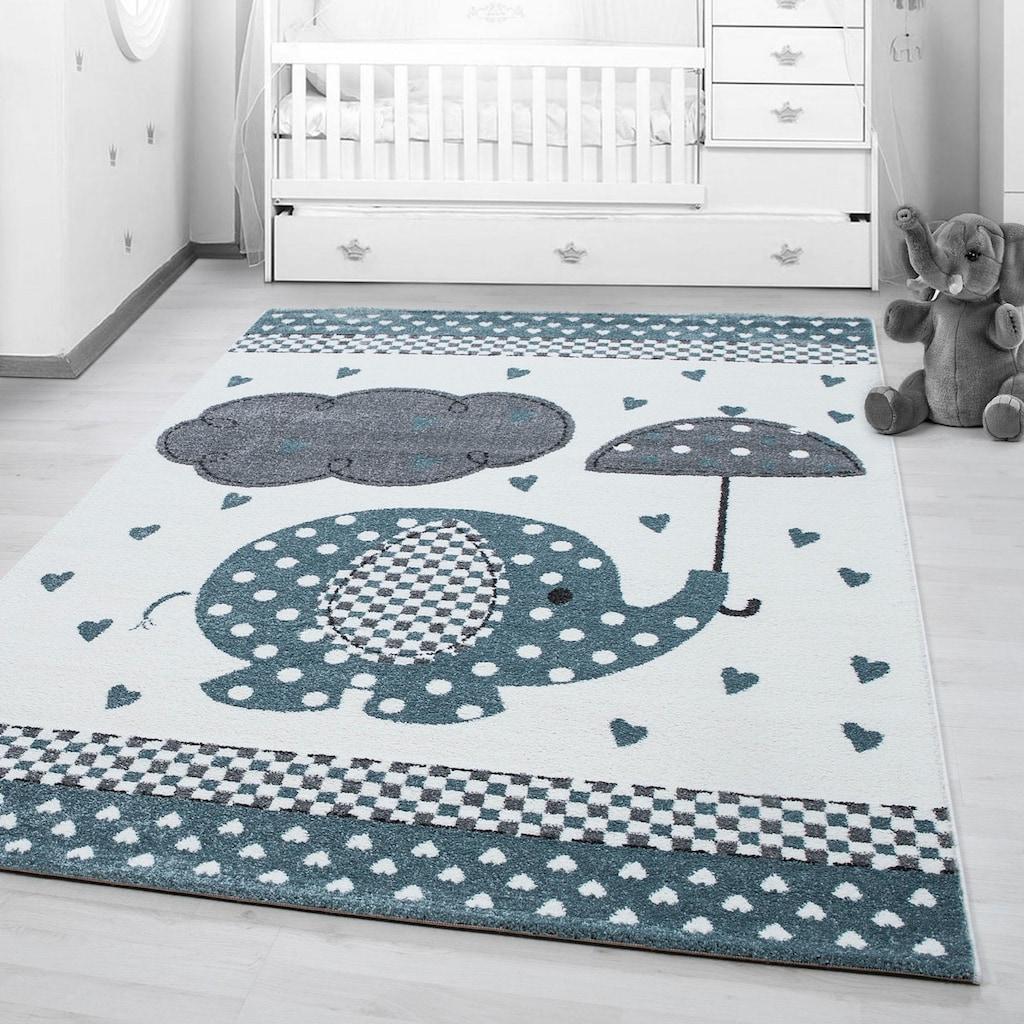 Ayyildiz Kinderteppich »Kids 570«, rechteckig, 12 mm Höhe, Elefanten Motiv, Kurzflor