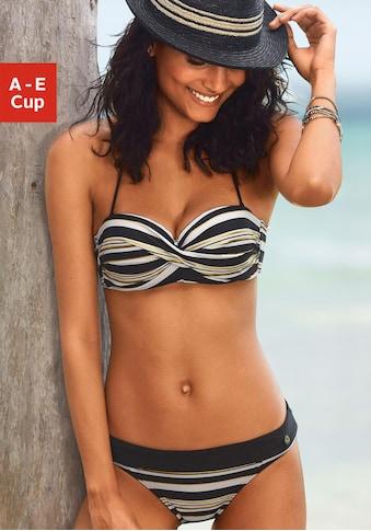 LASCANA Bandeau-Bikini-Top »Caja«, mit Streifen und golfarbenem Glanzdruck kaufen