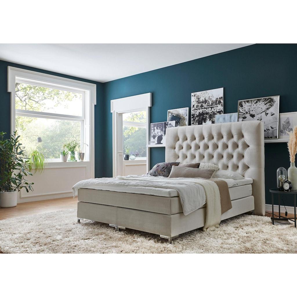 ATLANTIC home collection Boxspringbett, mit Topper und extra hohem Kopfteil