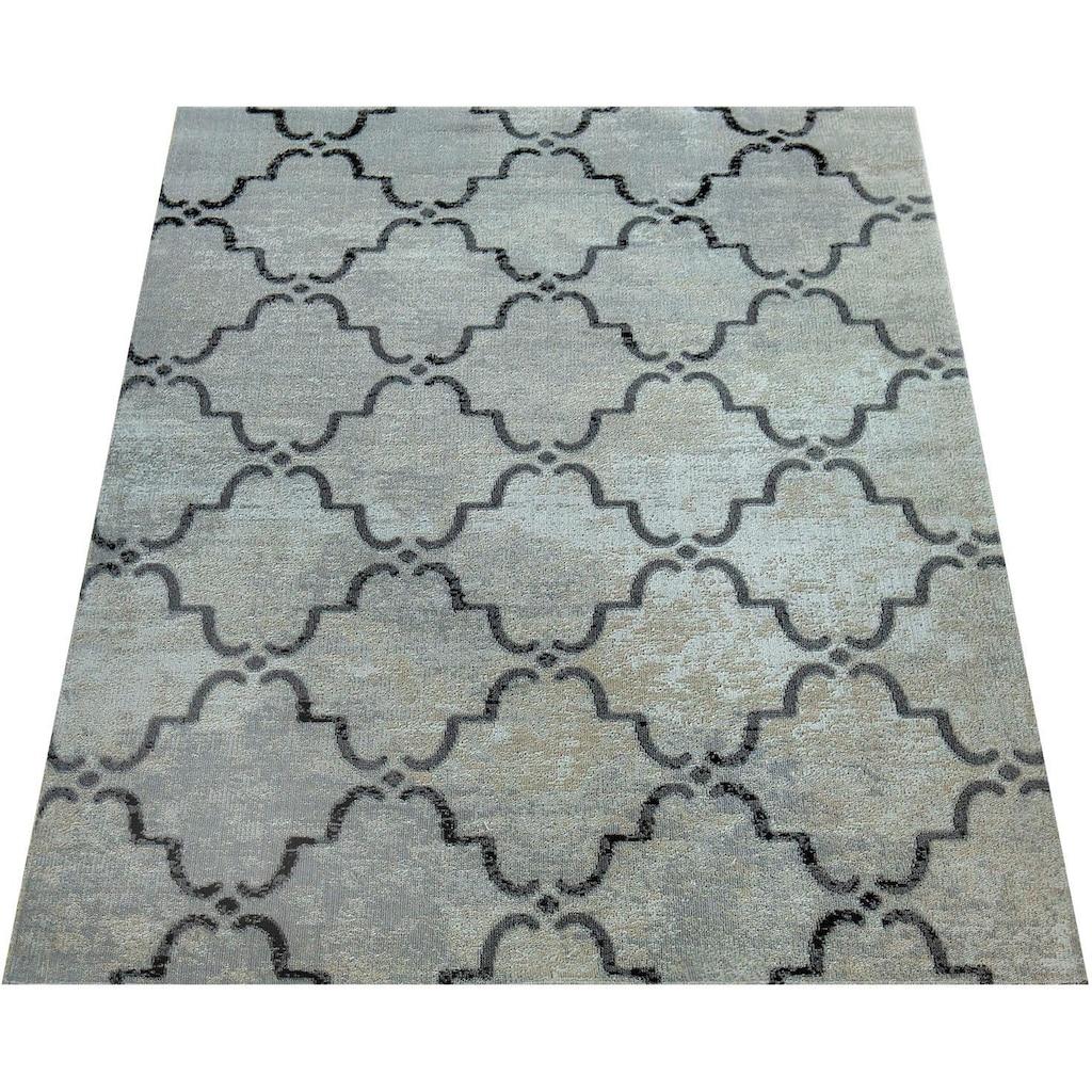 Paco Home Teppich »Artigo 411«, rechteckig, 4 mm Höhe, In- und Outdoor geeignet, Vintage Design, Wohnzimmer