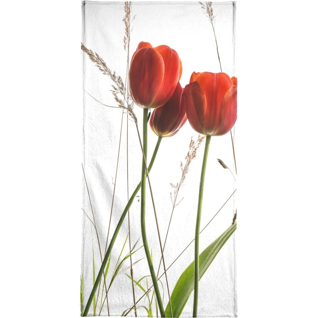 Juniqe Handtuch »Flora - Tulpe«, (1 St.), Weiche Frottee-Veloursqualität