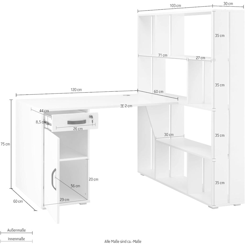 Places of Style Schreibtisch »Svean«, mit 1 Tür, 1 Schublade, 1 Regal