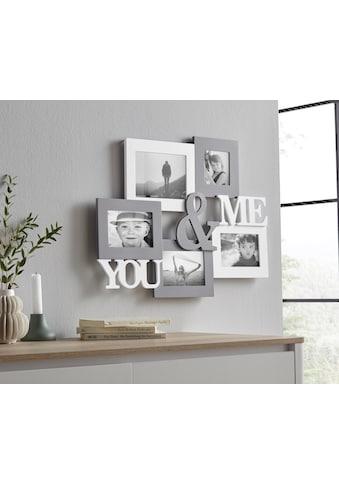 my home Bilderrahmen Collage »YOU & ME«, Fotorahmen, mit Schriftzug, weiss/grau kaufen