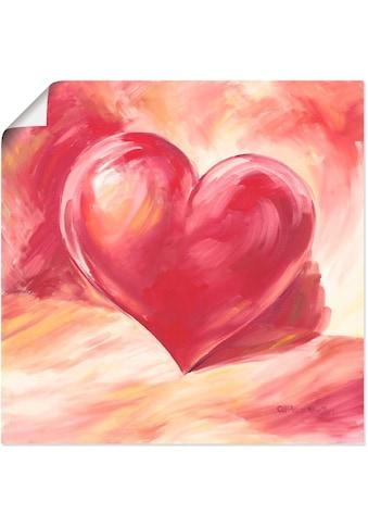 Artland Wandbild »Rosa/rotes Herz«, Herzen, (1 St.), in vielen Grössen & Produktarten - Alubild / Outdoorbild für den Aussenbereich, Leinwandbild, Poster, Wandaufkleber / Wandtattoo auch für Badezimmer geeignet kaufen