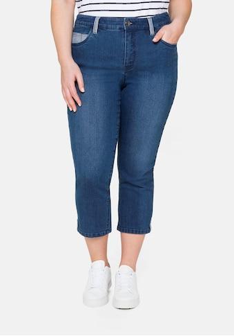 Sheego Stretch-Jeans, «Die Schmale», in 7/8-Länge, mit Kontrastdetails kaufen