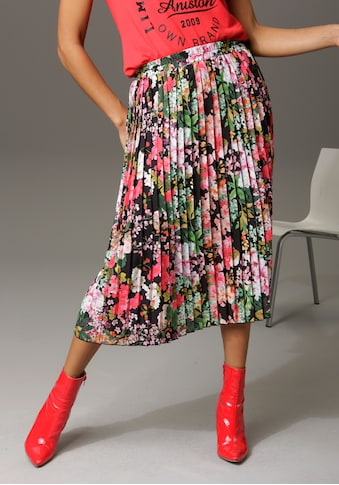 Aniston CASUAL Plisseerock, mit farbenfrohen Blumendruck - kaufen
