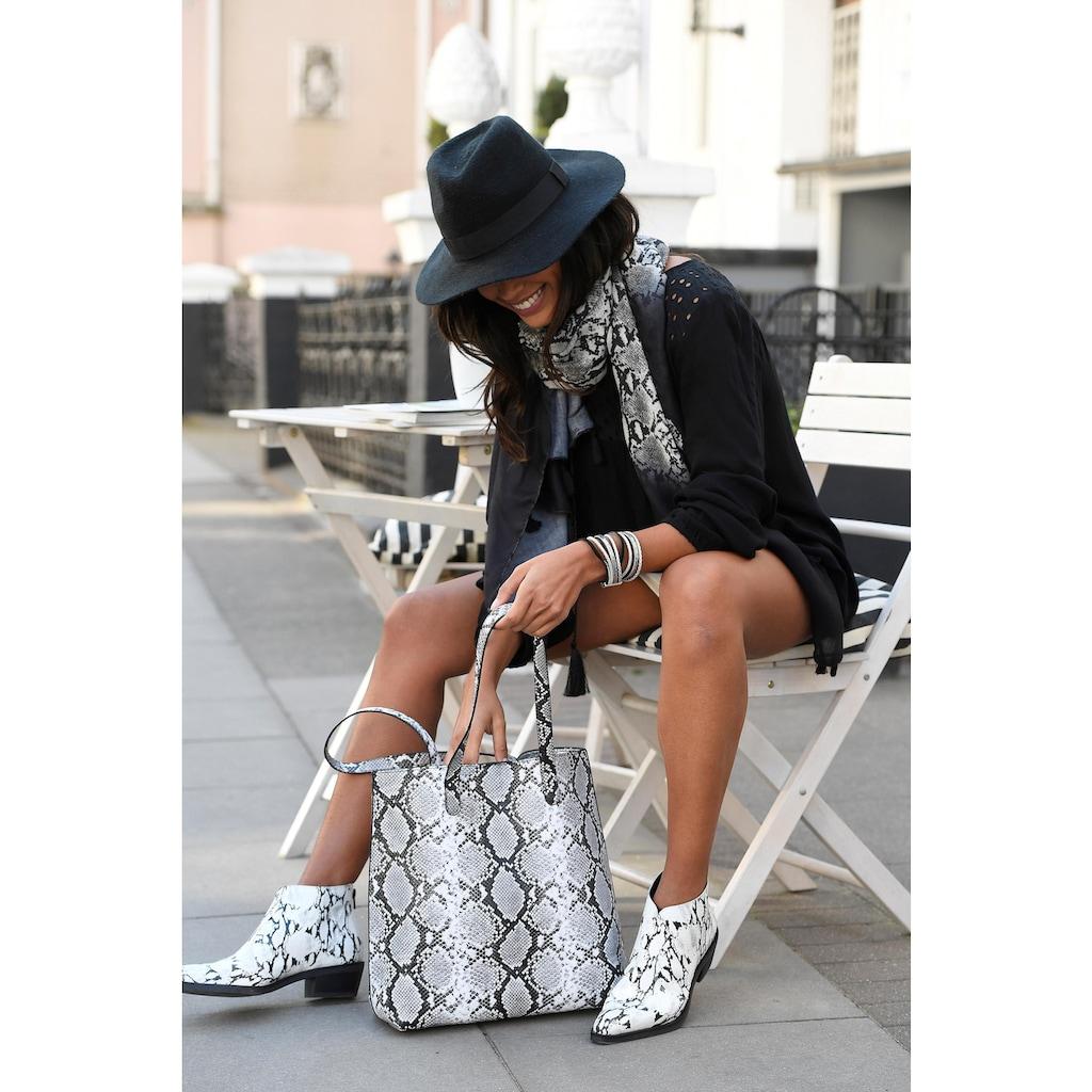 LASCANA Modeschal, mit Schlangenoptik und mit kleinen Tasseln