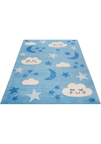 SMART KIDS Kinderteppich »LaLeLu«, rechteckig, 9 mm Höhe, Mond Sterne Wolken,... kaufen