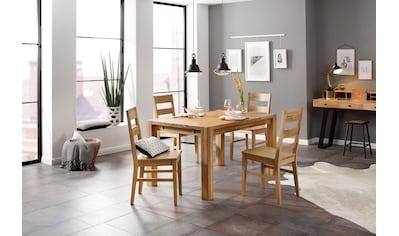 Home affaire Essgruppe »Nils 6«, (Set, 5 tlg., Tisch 140/90 cm, 4 Stühle, Holzsitz),... kaufen