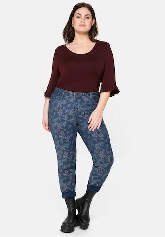 Sheego Stretch-Jeans, «Die Skinny»,uni und mit Blumendruck kaufen