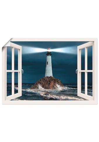Artland Wandbild »Fensterblick Leuchtturm mit Lichtstrahl« kaufen