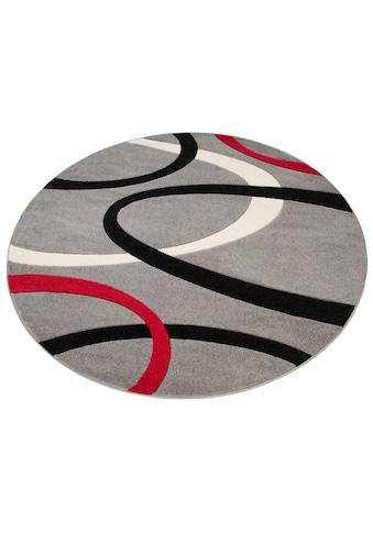my home Teppich »Bill«, rund, 10 mm Höhe, mit Handgearbeiteten Konturenschnitt, Wohnzimmer kaufen