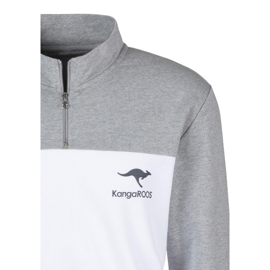 KangaROOS Sweatshirt, mit Stehkragen mit kurzen Reissverschluss