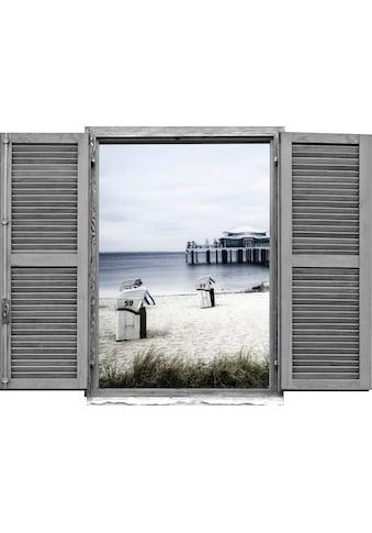 queence Wandtattoo »Strandkörbe am Meer« kaufen