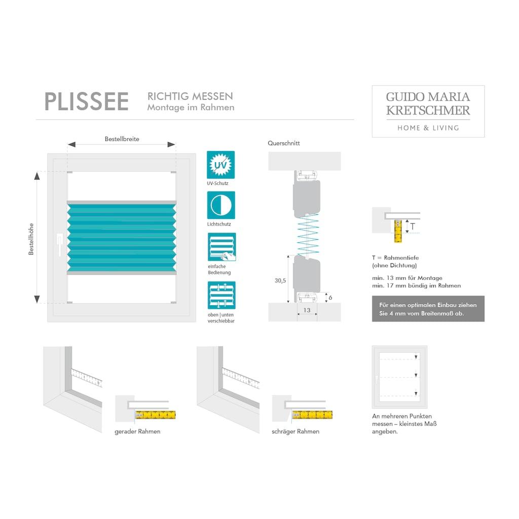 Guido Maria Kretschmer Home&Living Plissee nach Mass »Flair«, Lichtschutz, mit Bohren, verspannt, komfortables Bedienprofil wahlweise in weiss oder silber