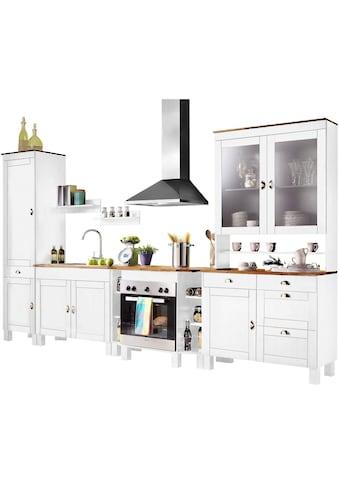 Home affaire Küchen-Set »Oslo«, (7 tlg.), ohne E-Geräte, Breite 350 cm, aus massiver Kiefer, 23 mm starke Arbeitsplatte, mit Metallgriffen, Landhaus-Küche, in 2 Tiefen erhältlich kaufen