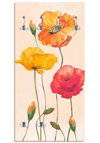 Artland Garderobe »Bunte Mohnblumen«, platzsparende Wandgarderobe aus Holz mit 6... kaufen