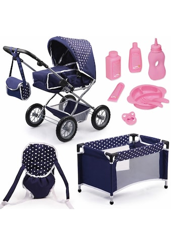 Bayer Kombi-Puppenwagen »Grande, Blau/Weiss«, mit Puppenbett und Puppenzubehör kaufen