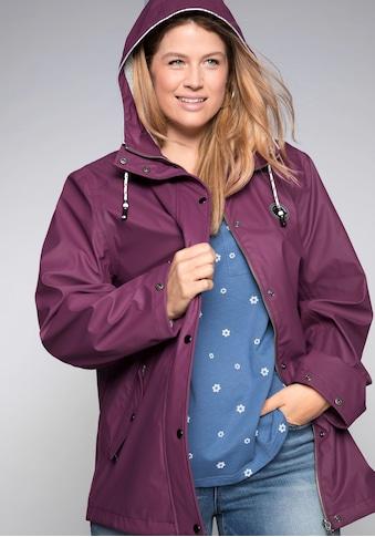 Sheego Regenjacke, mit Kapuze und Druckknöpfen kaufen